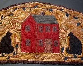 Cats about the House Primitive Rug Hooking Kit with Cut Wool Strips