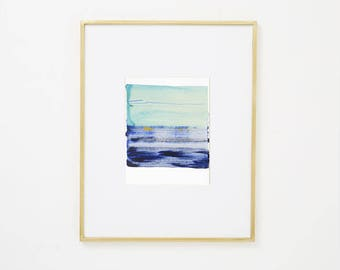 """Abstract Contemporary Original Watercolor Painting, blue purple, yellow 8 x 10"""" expressionist art """"Painting 987"""" modern minimal colorful art"""