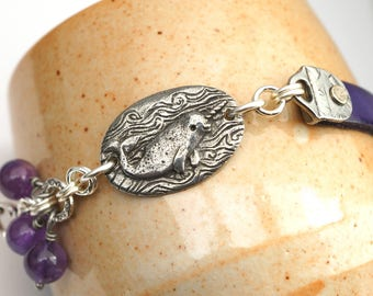 Purple narwhal bracelet, silver, leather, and amethyst beads, 7 3/4 inches long