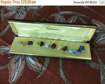 Christmas Sale Tumbled Stone Gold Fill Bracelet CATAMORE in Box Polished 12k Vintage