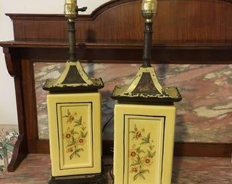 Christmas Sale Vintage 1940s Lamp Set Art Nouveau Metal, Brass, China Rectangular Yellow Floral Pair Table Heavy
