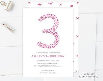 Girl's Dinosaur Birthday Invitation   Dinosaur Printable, Digital Download, Editable, DIY, Dinosaur Invitation Template, 3rd Birthday