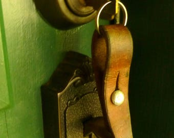 Vintage Swiss Military Leather KeyChain / Key Fob