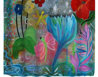 Fantasy garden colorful abstract flower garden shower curtains from my art