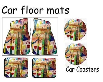 Wine Time Art Car Floor Mats from my original design