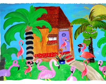 Yard flamingos fun tropical beach picnic or throw blanket from my original art