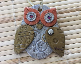 Steampunk Owl Holiday Ornament - Industrial Style Bird Animal Mixed Media Decor style 3