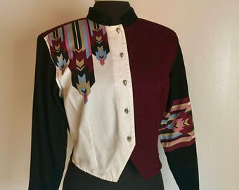 Vintage Western Native American Style Cropped Shirt