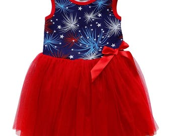 America the Great Fireworks - Tank Top Style Chiffon Tulle Skirt Princess Tutu Dress Sundress for Toddler and Girls by So Sydney, July 4th