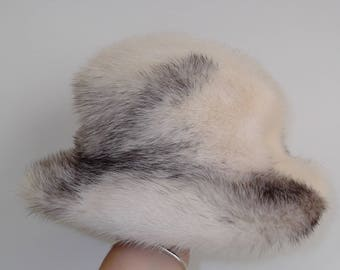 Mr D Mink Fur Hat /  Cream White and Black Streaks / 50s Hat / Holiday Party / GlitterNgoldVintage