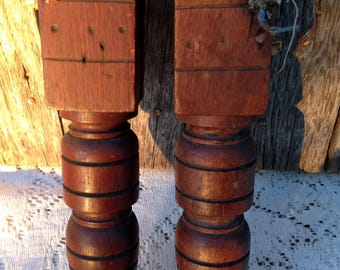 """Vintage Architectural Salvage Wood Legs Sofa Piano Carved Ornate 12"""" repurpose"""