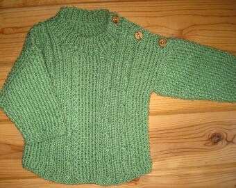 Baby Sweater Sprout Green Hand Knit Irish Knit Pullover 9 to 12 Months Acrylic Merino Blend Free US Shipping