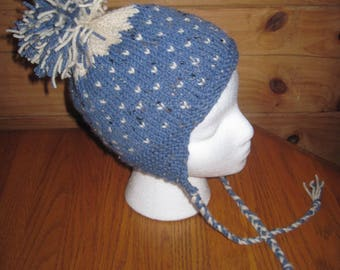 Hand Knit Hat with Earflaps and Pom Pom Toddler Size Free US Shipping!