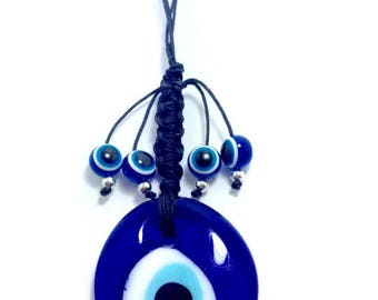 Evil eye Wall Hanging - Protection & Good Luck - Greek amulet - Greece - Home decoration - Door hanging - Glass evil eye pendant