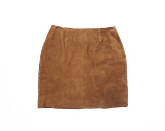Suede Mod Mini Skirt 1990s Light Brown Leather 70s Hippie 60s 90s Soft Grunge Boho 1970s Bohemian 1960s Party Cocktail Cache XS Extra Small