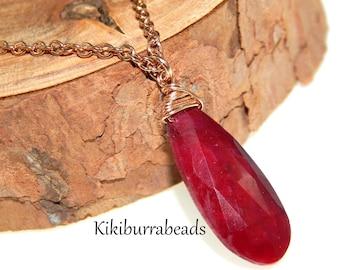 Ruby Necklace, July Birthstone Necklace, Rose Gold Necklace, Solitaire Necklace, Layering Necklace, Gemstone Jewelry