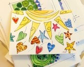"""Tiny SunShower Hearts And Stars Note Card Watercolor Original """"Little Card"""" 31/2"""" x 47/8"""" Watercolor Card and Envelope Inside etrueoriginals"""