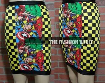 Sample Cosplay High Waist Pencil skirt  Marvel legends Captain America Wolverine Thor Ironman Hulk Fashion vault