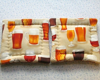 SALE was 9.50 NOW 6 beer glasses and mugs hand quilted set of 2 potholders hot pads