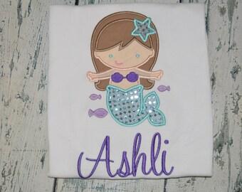 Personalized Mermaid Shirt, Girls Mermaid Summer Shirt Monogrammed, Custom Colors