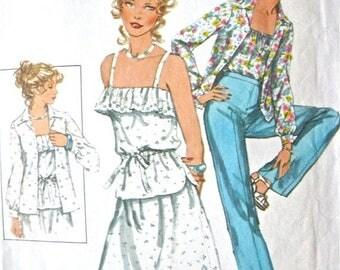 ON SALE Uncut Simplicity 8406 Vintage Sewing Dress Pattern 1970s Sundress Ruffles Spaghetti Straps Pants Ruffle  70s Top Blouse     Bust  36