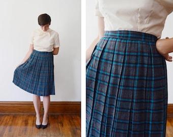 1950s Blue Plaid Flannel Skirt - M