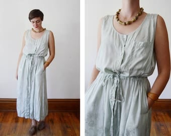 80s/90s Shimmery Green Floral Tank Dress - L / XL