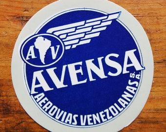 Vintage Avensa Aerovias Venezolanas S.A. Travel Decal Gummed Sticker
