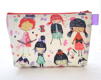 Cute Girls in Glasses Fabric Large Cosmetic Bag Zipper Pouch Padded Makeup Bag Zip Pouch Alexander Henry Dogs Puppies Redheads