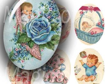 Baby Shower - 90  18x25 mm Oval  JPG images - Digital  Collage Sheet