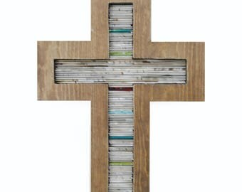 Cross - with birth stone colors - made from wood & recycled magazines,brown,neutral, tan, religious, Baptism, home decor, interior design