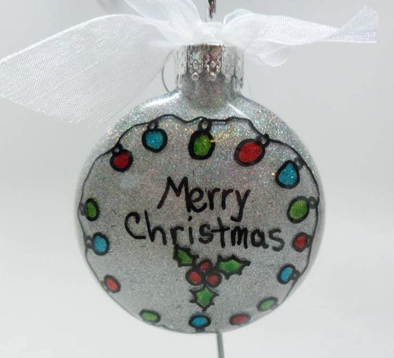 """Christmas Ornament with circle of lights forming wreath and """"Merry Christmas"""" can be personalized"""