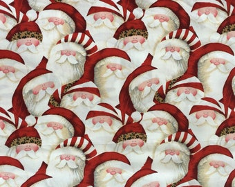 SALE Ho Ho Ho Be Jolly Santa Fabric, Santa Cotton Fabric, Holiday Fabric, Christmas Fabric, Santa Quilting Cotton