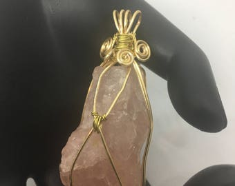 Rose Quartz Pendant wrapped in gold wire