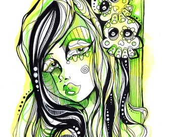 Green Hair Day of The Dead Sugar Skull Girl Ink and Watercolor Illustration
