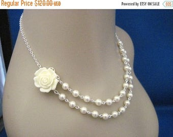 ON SALE Bridesmaid Jewelry Set of 5 Cream Rose and Pearl Double Strand Necklaces