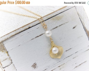 ON SALE Bridal Jewelry Set of 5 Small Gold Calla Lily Wedding Necklaces