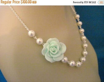 ON SALE Bridesmaid Jewelry Set of 5 Mint Fashion Rose and Pearl Bridal Necklaces