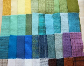 SALE Hand Dyed Felted Wool Scrap Bundle 1290 perfect for Rug Hooking, Applique, Quilting, and Sewing by Quilting Acres