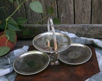Lovely Silver Plate Three-Tier Server