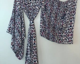 White & Purple Feather Graphic Handmade Kimono with Pockets