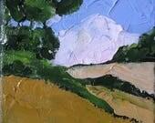 Miniature Impressionist Painting 4x4 Plein Air California Landscape Summer Hills Lynne French
