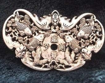 Chinese Tibetan Silver Auspicious Kirin Dragons Koi Spiritual Luck Longevity Handmade Pendant