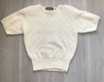 Vintage Angora and Pearl Ivory Sweater