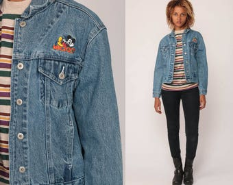 Disney Denim Jacket MICKEY MOUSE Jacket Vintage 90s Jean Jacket Grunge Biker Stone Wash Button Up 1990s Hipster Coat Small Medium