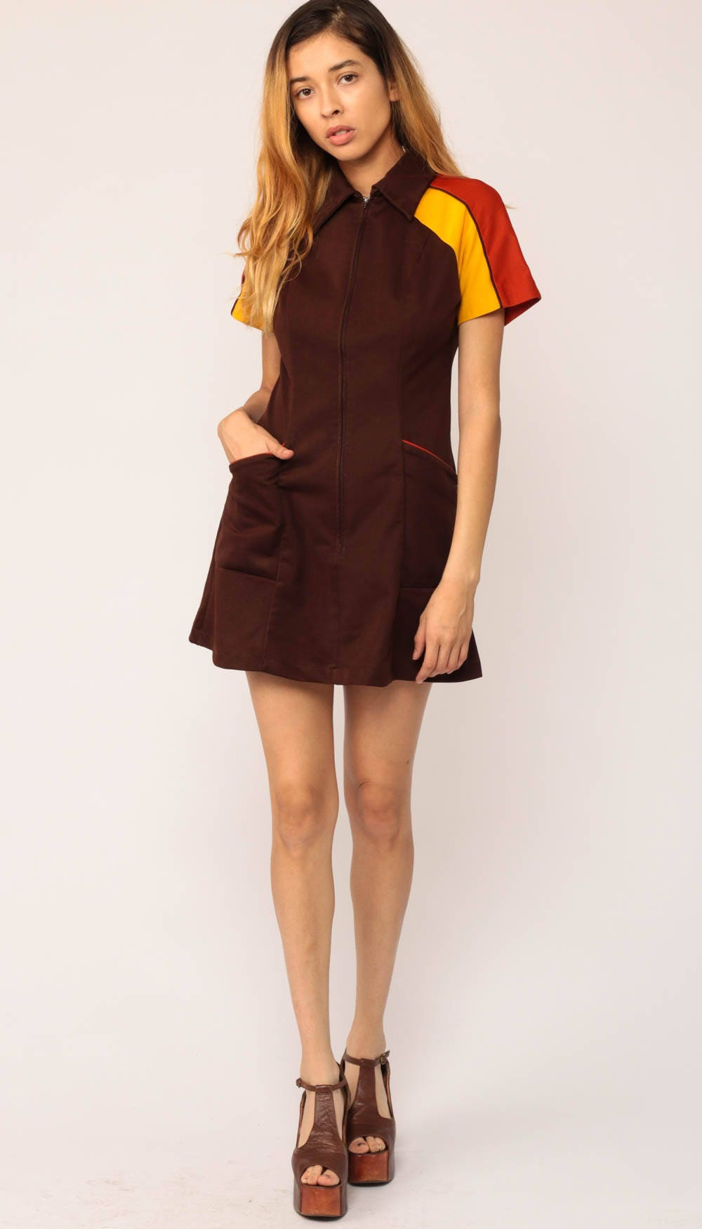 70s Mini Dress Space Age Shift Mod Waitress Uniform Space