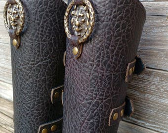 Deep Brown Bracer Pair Armor Ren Faire SCA with Antiqued Brass Lion Head and Primitive Antiqued Brass Ring