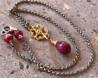Red Ruby Necklace, Ruby Pendant, Vermeil Gold Charm, July Birthstone Necklace, Faceted Ruby Drop, Ruby Dangle Charm, Silver & Gold Necklace