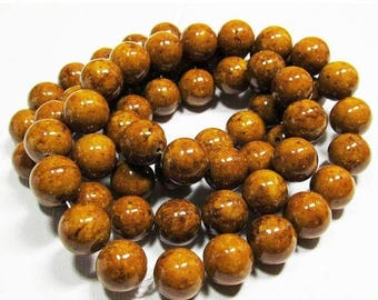 20% OFF LOOSE BEADS - Reconstituted Riverstone Beads - 12mm Rounds - Marbleized Dark Camel Brown (6 beads) - gem830