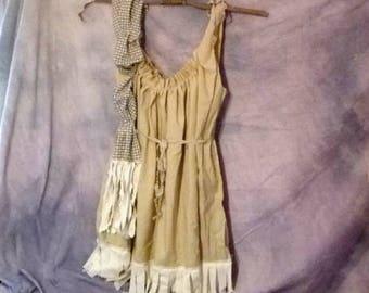 LAST ONE Tan Cowgirl Dress Cowgirls Custom Order Womens Homespun Tattered